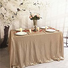 YZEO 75x75inch Champagne Sequin Tablecloth for
