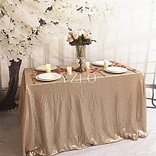 "YZEO 90""x132"" Champagne Sequin Tablecloth"