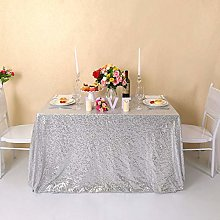YZEO Christmas Silver Sequin Tablecloth - 55 x 80