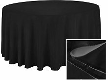 YZEO Fibre Tablecloth Black Round 50Inch Polyester