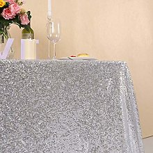 YZEO Glitter Silver Sequin Tablecloth - Rectangle
