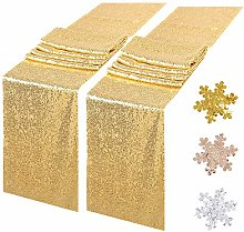 YZEO Gold Sequin Table Runner - 2 Packs 12x108inch