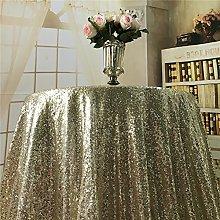 YZEO Light Gold 48-Inch Round Wedding Sequin