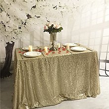 "YZEO Light Gold Sequin 60""*126"" Tablecloth"