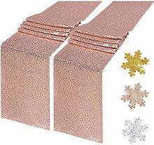 YZEO Rose Gold Glitter Runner - 2 Packs 12x108inch