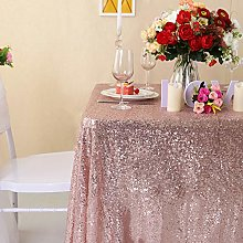 YZEO Rose Gold Sequin Tablecloth - 50x85inch
