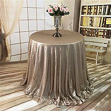 YZEO Round 132Inch Sequin Table Cloth Champagne