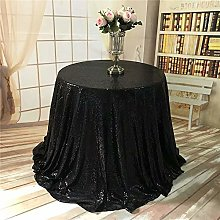 YZEO Round Sequin Tablecloth Black for Wedding