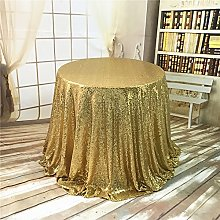 YZEO Round Sequin Tablecloth Gold 50 inch Sparkly
