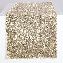 YZEO Sequin Table Runner-Glitter Light Gold,
