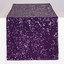 YZEO Sequin Table Runner-Glitter Purple, Sequin