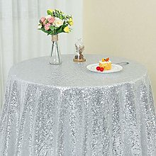 YZEO Sequin Tablecloth Round 50 Inch Silver Table