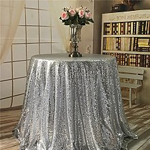 "YZEO Sequin Tablecloth-Silver 72"",Sequin Table"