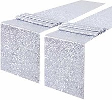 YZEO Silver Sequin Table Runner - 2 Packs