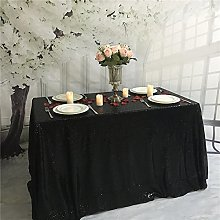 YZEO Square Sequin Tablecloth Black for Wedding