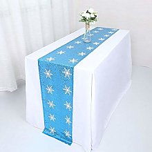 YZEO Turquoise Sequin Table Runner with Shimmer