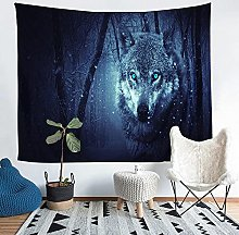 YZHEWQ Wall Tapestry Wolf Tapestry for Bedroom