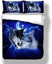 YZLOVGZ Duvet Cover Set Boys Kids Animal Wolf
