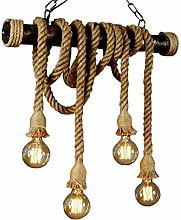 YZSJ Hemp Rope Pendant Light Retro Vintage Hanging