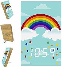 Z&Q Digital Alarm Clock for Bedrooms Rainbow Rain