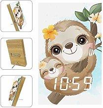 Z&Q Digital Alarm Clock Leaf Sloth Cute LED