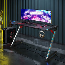 Z-Shaped Gaming Desk with LED Lights Office PC