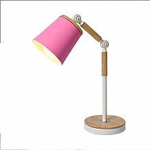 ZA Wood Metal Table Lamp, Swing Arm LED Desk Lamp,