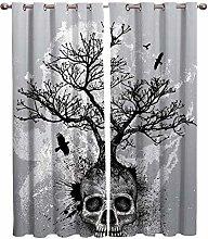 ZAHHYG Blackout Curtains for Bedroom Grey Skull