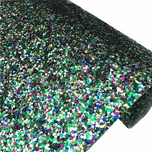 ZAIONE Chunky Glitter Fabric Faux Leather Fabric