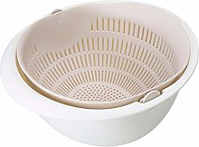 ZAIZAI Double Drain Basket Bowl Rice Washing