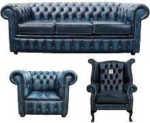Zaliki Chesterfield 3 Piece Leather Sofa Set