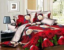 Zara's 3D Red Orange Multi Rose Duvet Cover