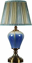 ZBY Lamp Light Blue Ceramic Table Lamp, Bedside
