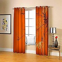 ZCFGG Blackout Curtain liners Orange bamboo Eyelet