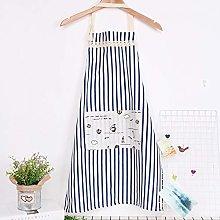 Zcm Apron 1Pcs Plaids Striped Cotton Linen Apron
