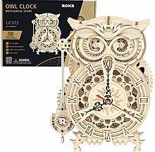 ZCXX 3D Puzzle Wooden Owl Clock Mechanical Model