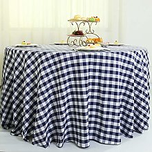 Zdada 132in Round Blue Check Tablecloth Plaid Grid