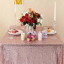 Zdada 55x108 Inch Rose Gold Sequin Tablecloth