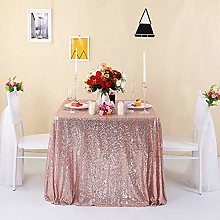Zdada 60x126 Inch Rose Gold Sequin Tablecloth