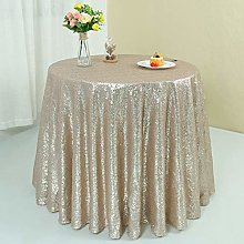 Zdada 72 Inch Round Champagne Sequin Tablecloth,