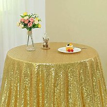 Zdada 72-Inch Sequin Tablecloth Round Gold Sequin