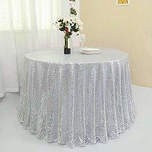 Zdada 90 Inch Round Silver Sequin Tablecloth,