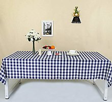 Zdada Navy Blue and White Check Tablecloth Plaid