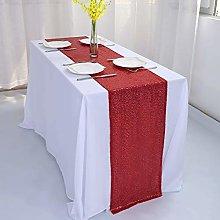 Zdada Red Sequin Table Runner for Christmas Home