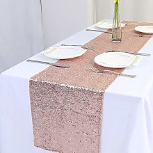 Zdada Rose Gold Sequin Table Runner - Christmas