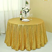 Zdada Round 92 Inch Gold Sequin Tablecloth Party