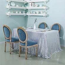 Zdada-Sequin Tablecloth-60 X102 Seamless Silver