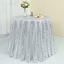 Zdada Sequin Tablecloth Round Silver 72 Inch