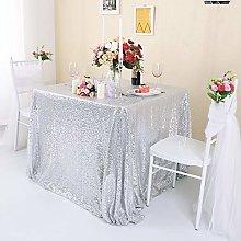 Zdada Silver Sequin Tablecloth 72inch x 72inch