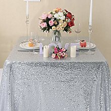 Zdada Silver Sequin Tablecloth Sparkly Tablecloth